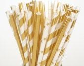 Gold Paper Straws Elegant Foil Paper Drinking Straws  Shinny Gold Straws Stripes, Solid, Stars Christmas Holidays Weddings Anniversary