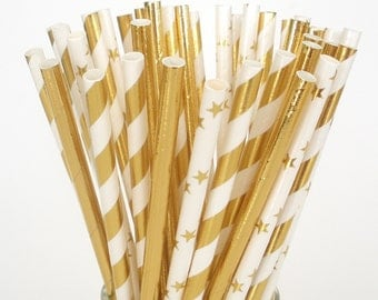 Gold Paper Straws Elegant Foil Paper Drinking Straws  Shinny Gold Straws Stripes, Solid, Stars Christmas Holidays Weddings Anniversary