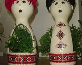 Ceramic Snowman and Snowlady - Ukranian Pattern - Votive Candle Holders or Decorative Accent Pieces - (2 Pieces) - OOAK - Whimsical