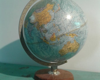 Vintage world globe ,Made in Denmark , 70s , retro earth globe