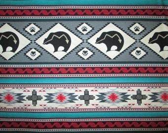 Tradtional Navajo Bear Totem Border Gray Teal Native American Cotton Fabric Fat Quarter Or Custom Listing