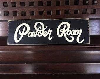 POWDER ROOM Small Plaque Wooden Sign Bathroom You Pick Color Restoom WC