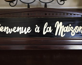 Bienvenue a la Maison French Country Decor Sign Plaque Welcome to our Home Hand Painted Wooden You Pick Color Gallery Wall Art Francophile