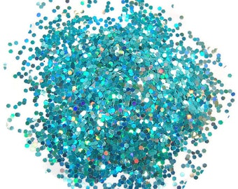 Teal SOLVENT RESISTANT HOLOGRAPHIC Glitter 0.062 Hex - 1 Fl. Ounce for Glitter Nail Art, Glitter Nail Polish and Glitter Crafts