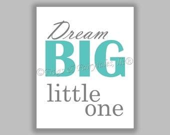Dream Big Little One aqua gray gender neutral canvas print wall art