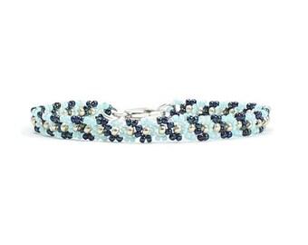 Blue Bracelet - Chain Bracelet - Beaded Jewelry - Seed Bead Bracelet - Beadwork Jewelry - Layering Bracelet