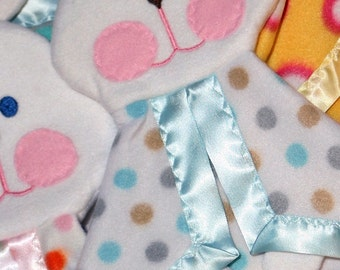 NEW!! Baby boy polka dot Fisher Price replica bunny lovey blanket