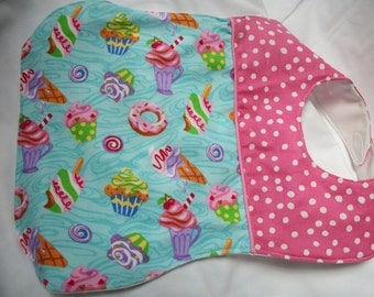 Colorful baby bib with clothes shield backing