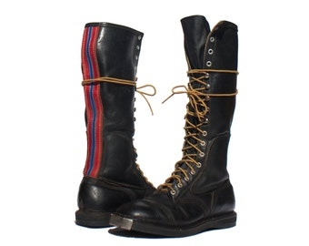 8 E (Wide) | Men's Vintage Motorcycle Boots Lace Up Black Boots with Racing Stripe