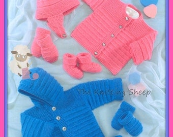 PDF Knitting Pattern - Baby's Jacket, Cardigan Hat, Mittens and Mittens 12-22 Chests - Instant Download
