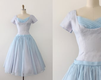 vintage 1950s dress // 50s pale blue prom dress