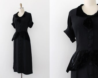 vintage 1940s dress // 40s black crepe evening dress