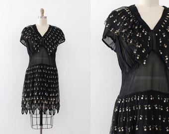 vintage 1930s dress // 30s sheer embroidered dress