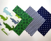 """48 Piece Flannel Rag Quilt Kit 6""""x6"""" Pre Cut Quilt Squares in Fun Green and Navy Alligators, Chevron, Circle and Dot Prints"""
