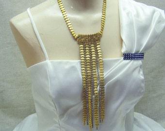 Gorgeous Vintage Italian Golden Rhinestone Runway Necklace