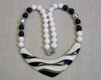 1980s Black and White Zebra Striped Enameled Metal  Necklace