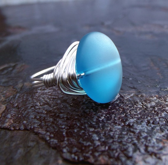 Teal Sea Glass Ring: Silver Wire Wrapped Ring, Peacock Blue Beach Glass Stone Ring, Resort Wear Ocean Surf Accessory, Size 7, Custom Size