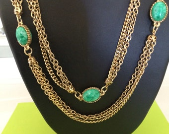 Long Decorative Layered Chains With 5 Green Lucite Accents