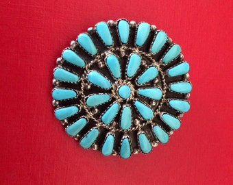 Vintage Sterling Silver and Turquoise Cluster Style Round Pin and Pendant