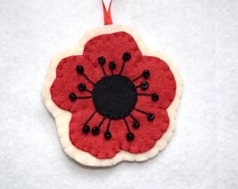 Beaded felt poppy ornament