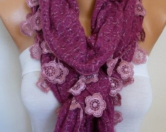 Crimson Glory Ruffle Knitted Scarf, Fall Winter Lace Scarf.  Shawl Scarf Flower Scarf  Cowl Scarf,  Gift For Her Women's Fashion Accessories