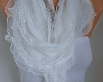 Off White Lace Scarf ,Shawl,Wedding Scarf, Bridal Scarf, Bridesmaid Gifts, Gift Ideas For Her, Women Fashion Accessories