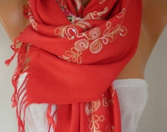 Red Embroidered Scarf,wedding Shawl,Oversize,Bridesmaid Gift, Bridal Accessories, Gift  For Her, Women Fashion Accesssories,wedding scarf