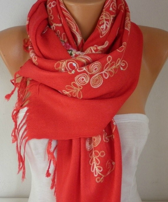 Red Embroidered Scarf,Fall Shawl,Oversize,Bridesmaid Gift, Bridal Accessories, Gift Ideas For Her, Women Fashion Accesssories,wedding scarf