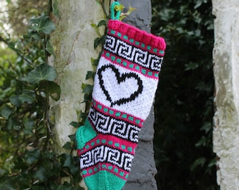 Small Christmas Stocking knitted with hearts Holiday stocking Fair isle Christmas Decoration Home Decor Ornament  sPTCS