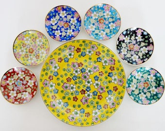6 Vintage Mini Plates and 1 Plate with Hand Painted Flowers Made in Japan