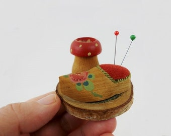 Vintage Hand Painted Wooden Clog Pin Cushion with Toadstool Display