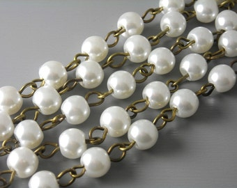 CHAINB-PW6MM - 6mm Snow White Glass Pearl Chain - Antique Bronze Plated Wire - 3.25 feet