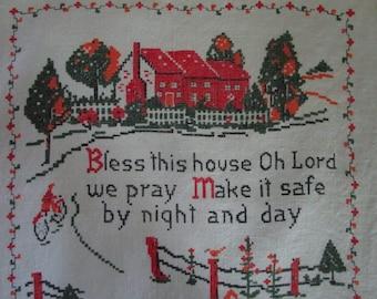Linen Tea Towel, 1969 Calendar Bless This House, Vintage Kitchen Linens