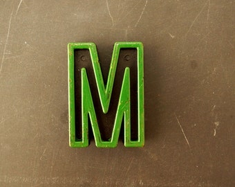 "Vintage Industrial Letter ""M"" Black with Green and Blue Paint, 2"" tall (c.1940s) - Monogram Display, Shadow Box Letter, Art Supply"