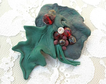 Holiday Holly Berry & Leaf Pin, hand-crafted, reduced