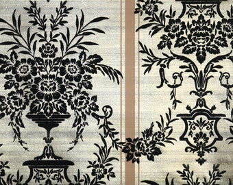 Retro Flock Wallpaper by the Yard 70s Vintage Flock Wallpaper - 1970s Black Floral Damask on Gold Stripe