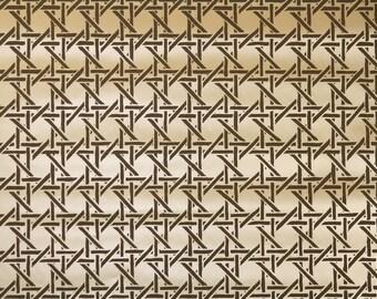 Retro Wallpaper by the Yard 70s Vintage Wallpaper - 1970s Vinyl Brown and Tan Bamboo Lattice Geometric