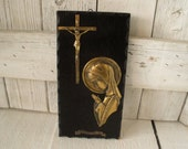 Vintage religious wall plaque icon Mary Jesus Christ crucifixion wood metal Portuguese 1960s