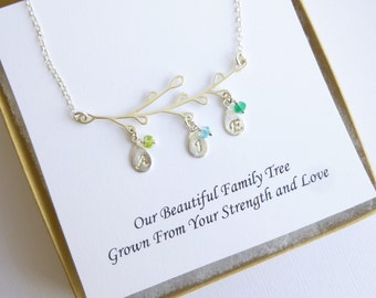 Sterling Silver Family Tree Necklace with Sentiment Card... Personalized Initials and Birthstones