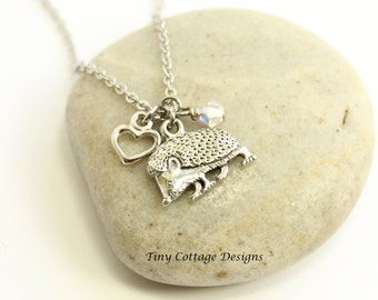 Silver Heart Hedgehog Necklace.... Choose your Birthstone
