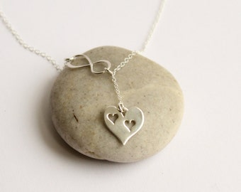 Sterling Silver Mother's Infinity Two Cut Out Heart Necklace