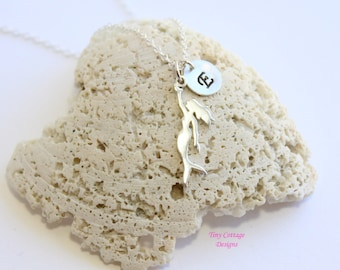 Sterling Silver Mermaid Initial Necklace... Choose Your Initial... Delicate Minimalist Jewelry