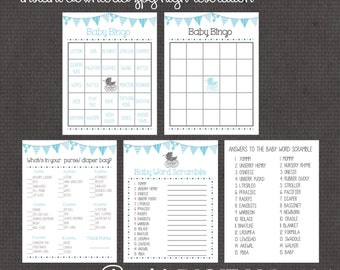 Blue Baby Shower 3 Games digital you print your own- INSTANT DOWNLOAD