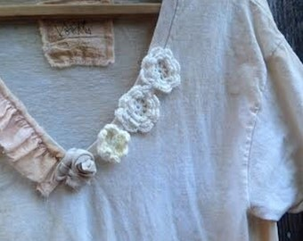 SALE calgary stampede cowgirl rodeo shabby boho fairy anthropologie like cotton lace tattery cowgirl boho girl gypsy ooak tee dress tunic