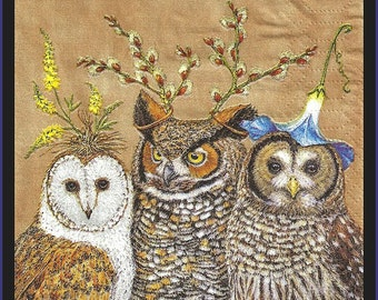 Decoupage napkins, owl family, 3ply tissue paper napkins cocktail size 25cm, lot of four