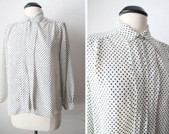 Vintage 80s Square Dots Pleated Front and Ruched Shoulders Secretary Top Size 10