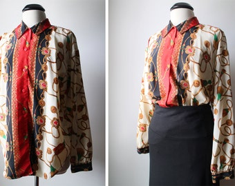 Vintage Equestrian Chain Jewel Print Long Sleeves Country Shirt Size 14 XL
