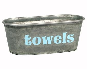 Towels Galvanized Storage Tub, Small