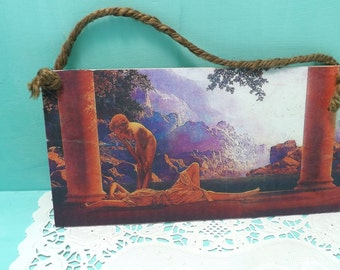 wooden Kitsch sign plaque Maxfield Parrish, Daybreak, kittens dressed up having tea, handmade signs, wall hangings
