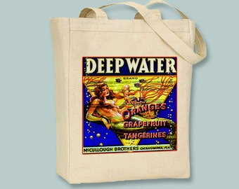 Deepwater Mermaid Citrus Fruit Crate Vintage Label Black or Neutral Canvas Tote  -- selection of sizes available
